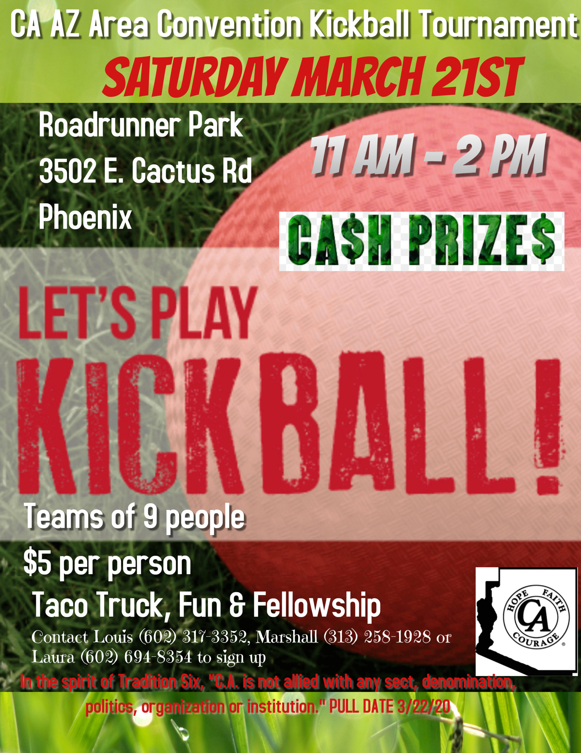 CA AZ Area Convention Kickball Tournament @ Roadrunner Park